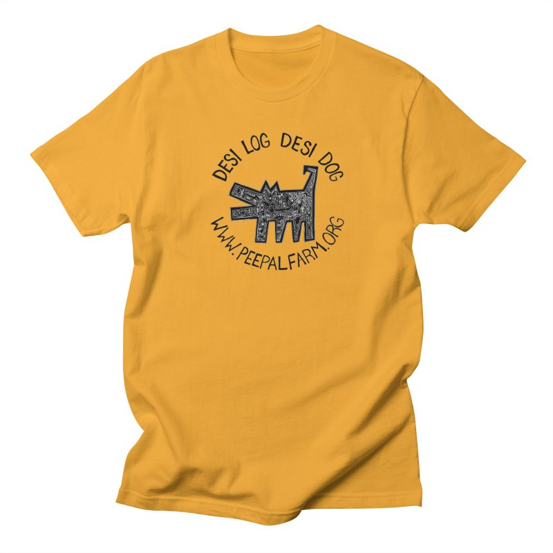 Desi Dog Jumble in Men's T-Shirt Gold by Peepal Farm's Shop
