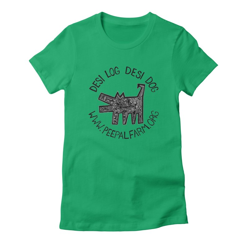 Desi Dog Jumble Women's Fitted T-Shirt by Peepal Farm's Shop