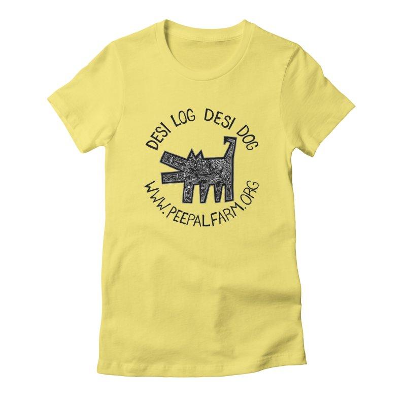 Desi Dog Jumble Women's Fitted T-Shirt by Peepal Farm's Shop