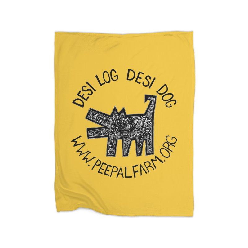 Desi Dog Jumble Home Fleece Blanket Blanket by Peepal Farm's Shop