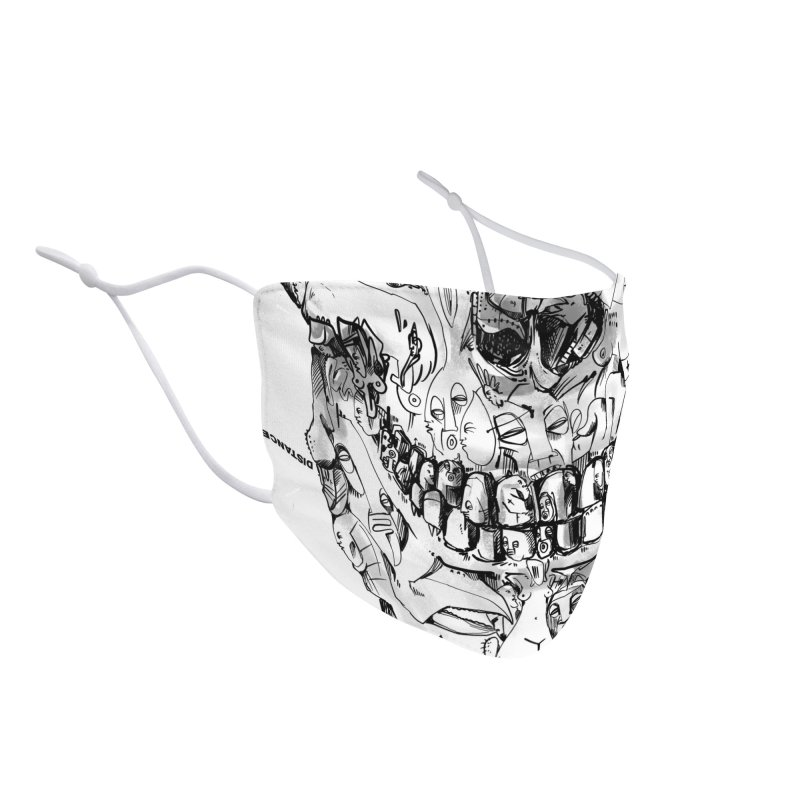 Please keep a distance of 1.50m - Skull (Red) Accessories Face Mask by Peer Kriesel's Artist Shop