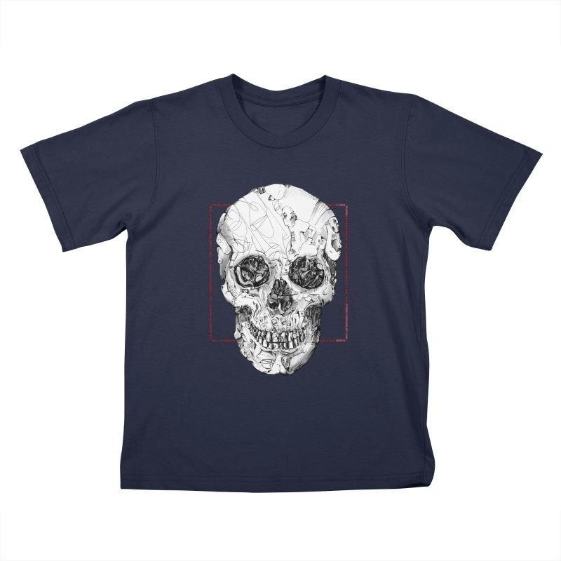 Please keep a distance of 1.50m - Skull (Red) Kids T-Shirt by Peer Kriesel's Artist Shop