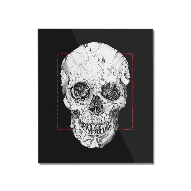 Please keep a distance of 1.50m - Skull (Red) Home Mounted Acrylic Print by Peer Kriesel's Artist Shop