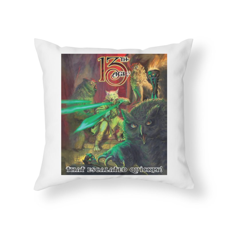 That Escalated Quickly 2 Home Throw Pillow by Pelgrane's Artist Shop