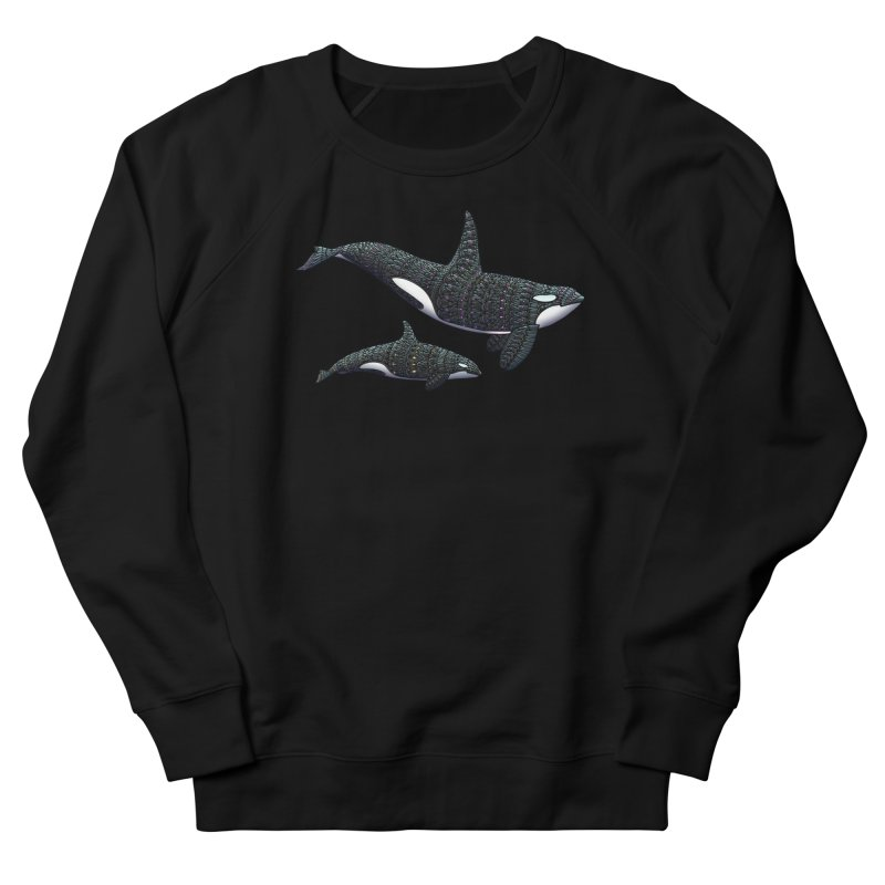 Orca Whales Men's French Terry Sweatshirt by Pellvetica
