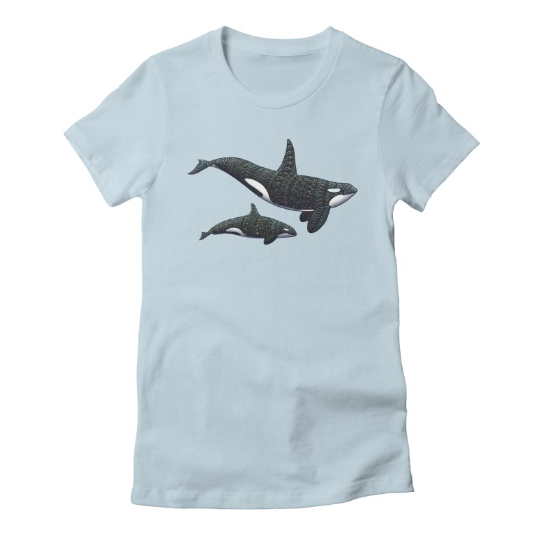 Orca Whales Women's Fitted T-Shirt by Pellvetica