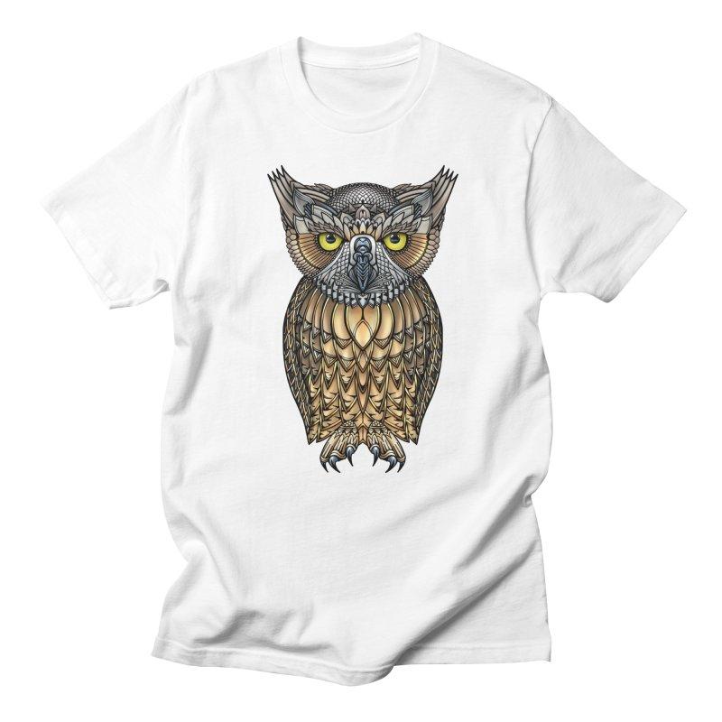 Great Horned Owl Men's Regular T-Shirt by Pellvetica
