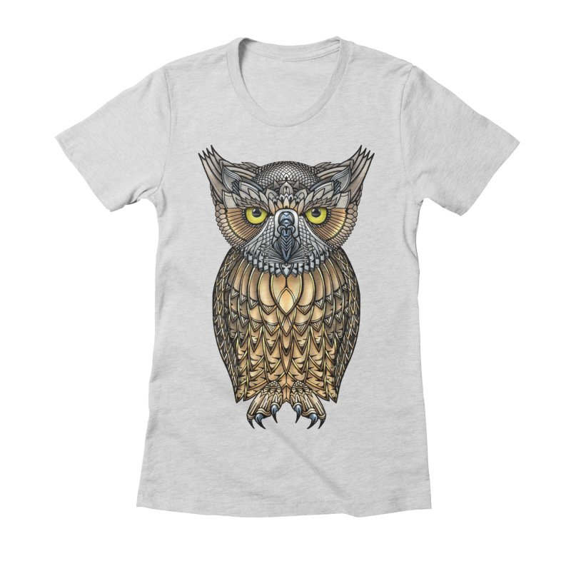 Great Horned Owl Women's Fitted T-Shirt by Pellvetica