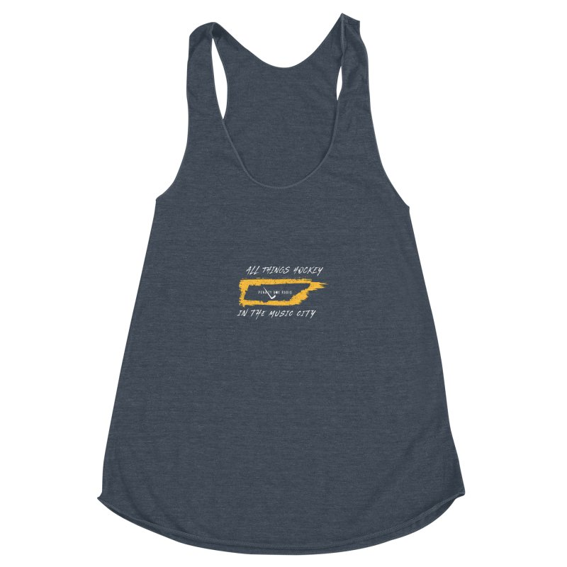 All Things Hockey In The Music City Women's Racerback Triblend Tank by Penalty Box Radio's Artist Shop