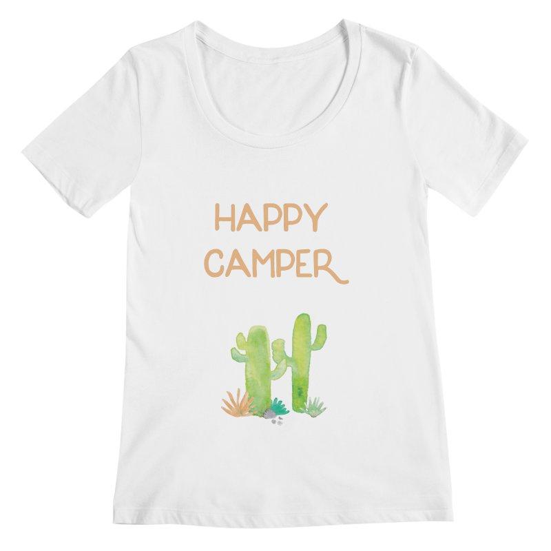 Happy Camper Women's Regular Scoop Neck by Pen & Paper Design's Shop