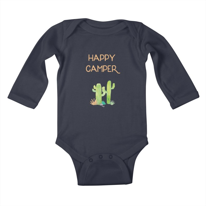 Happy Camper Kids Baby Longsleeve Bodysuit by Pen & Paper Design's Shop