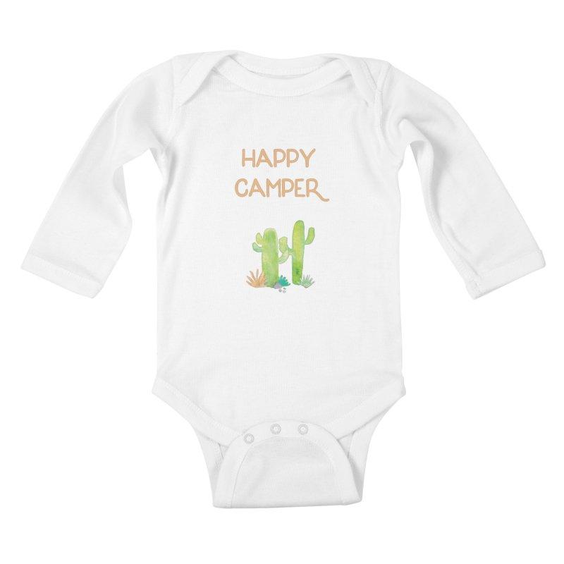 Happy Camper Kids Baby Longsleeve Bodysuit by Pen & Paper Design's Shop