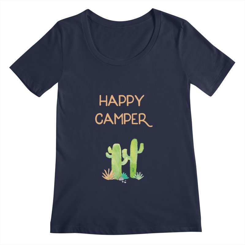 Happy Camper Women's Regular Scoop Neck by Pen & Paper Design's Shop