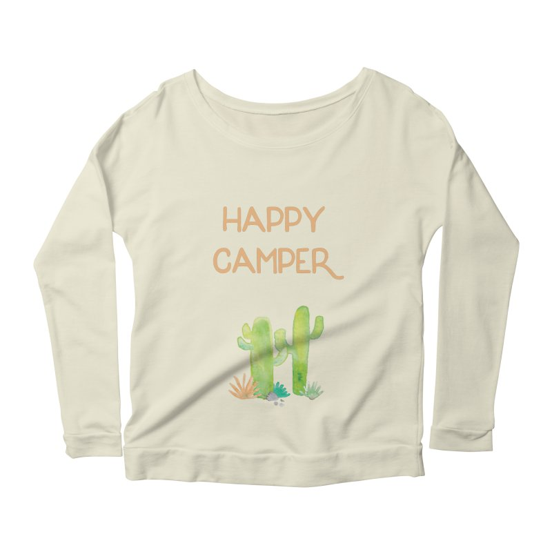 Happy Camper Women's Longsleeve Scoopneck  by Pen & Paper Design's Shop