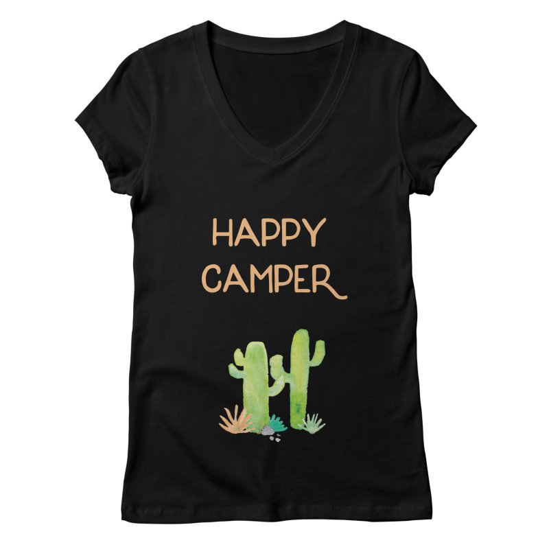 Happy Camper Women's V-Neck by Pen & Paper Design's Shop
