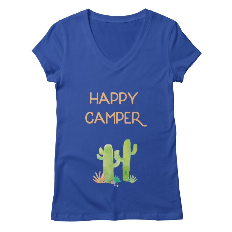 Happy Camper Women's V-Neck by Pen & Paper Design's Shop