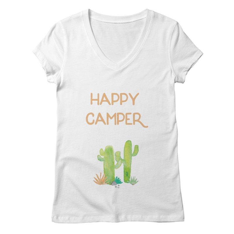 Happy Camper Women's Regular V-Neck by Pen & Paper Design's Shop