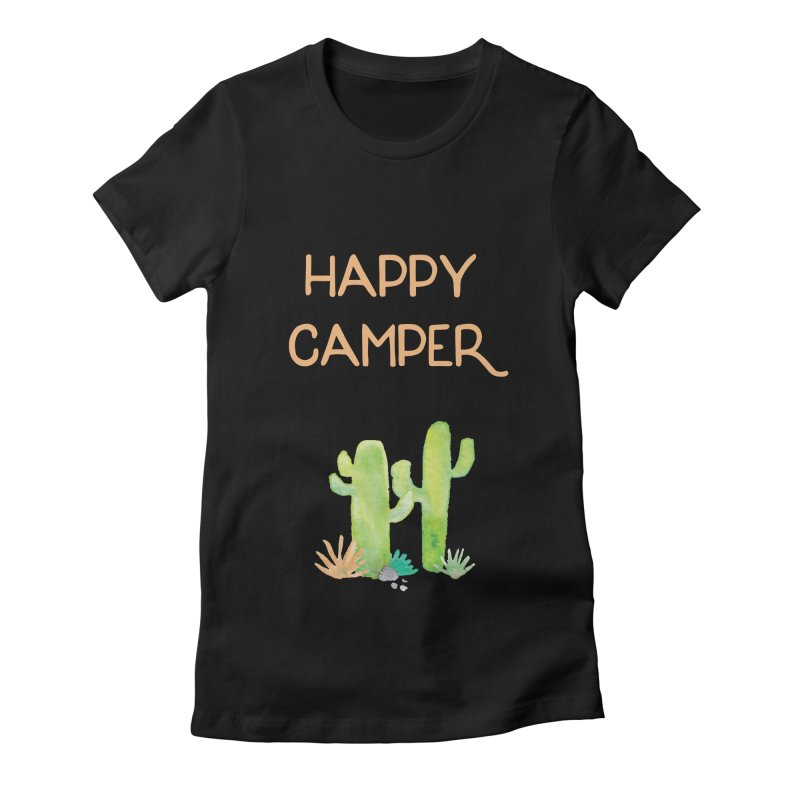 Happy Camper Women's Fitted T-Shirt by Pen & Paper Design's Shop
