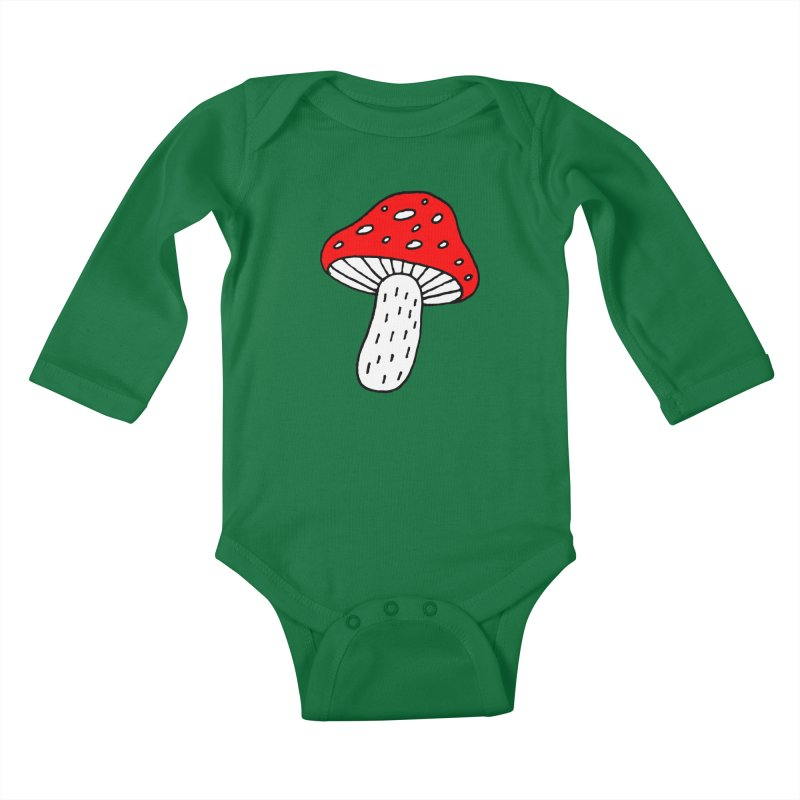 Mushroom Vibes Kids Baby Longsleeve Bodysuit by Ekaterina Zimodro's Artist Shop