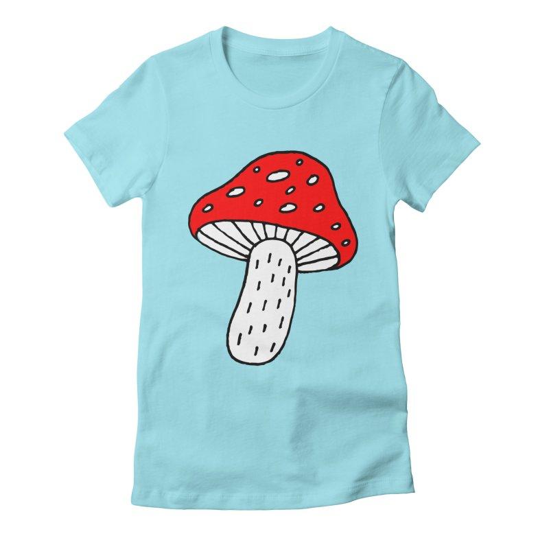 Mushroom Vibes Women's Fitted T-Shirt by Ekaterina Zimodro's Artist Shop