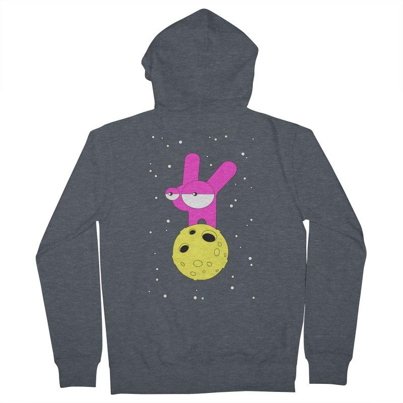 Moon Rabbit Moods Men's French Terry Zip-Up Hoody by PENARULIT illustration