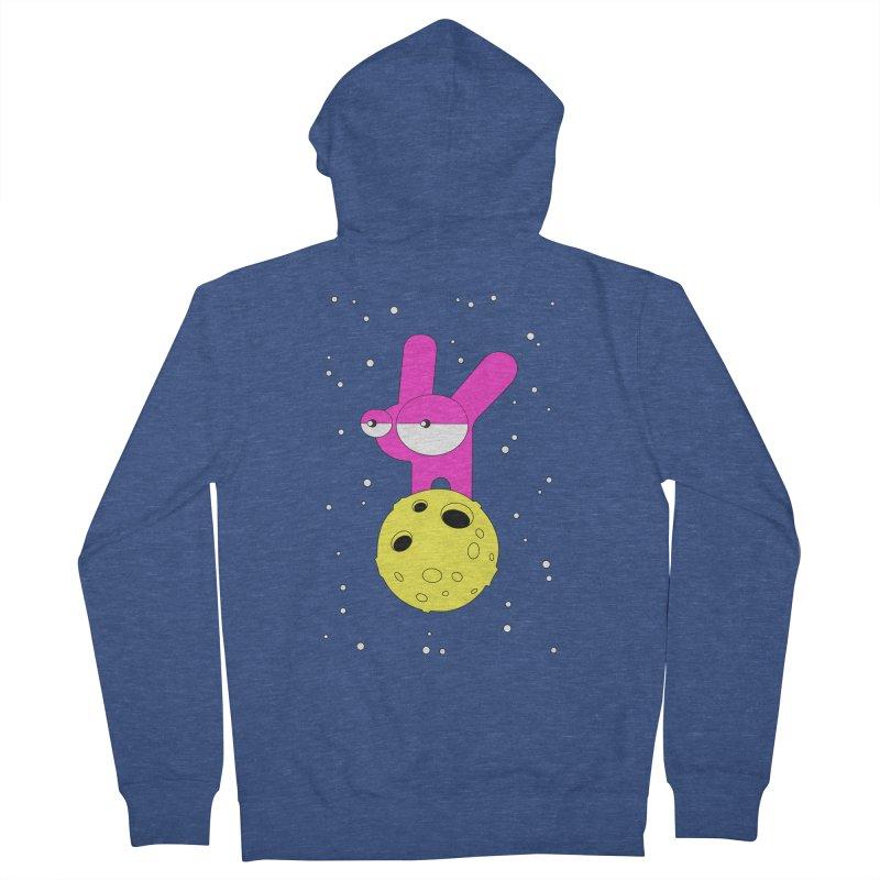 Moon Rabbit Moods Men's French Terry Zip-Up Hoody by Ekaterina Zimodro's Artist Shop