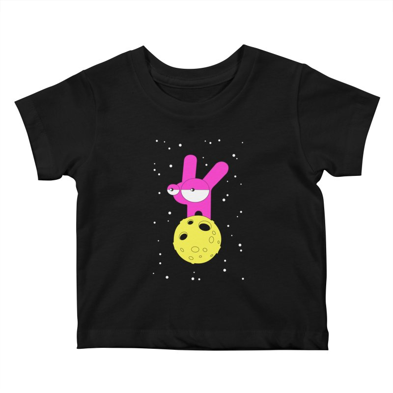 Moon Rabbit Moods Kids Baby T-Shirt by PENARULIT illustration