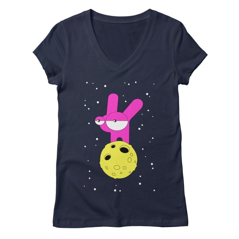 Moon Rabbit Moods Women's Regular V-Neck by PENARULIT illustration