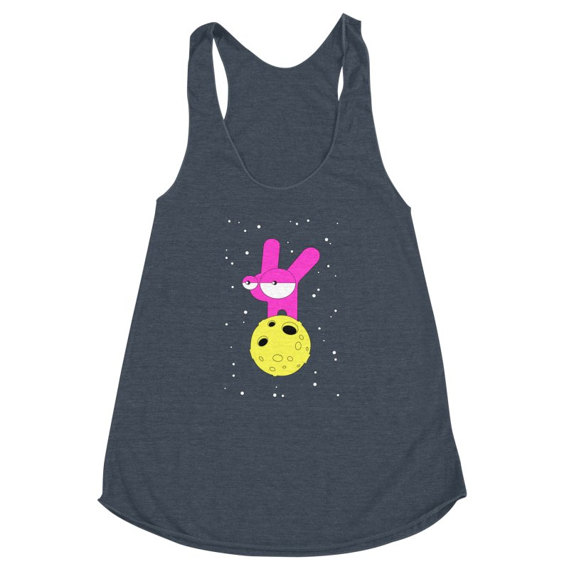 Moon Rabbit Moods Women's Racerback Triblend Tank by PENARULIT illustration