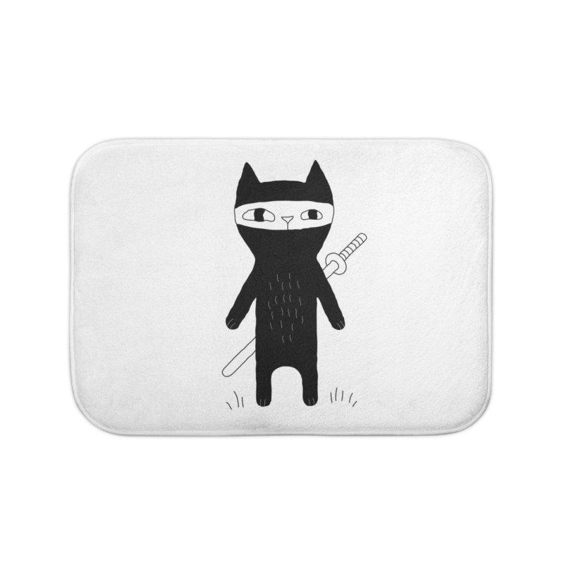 Ninja Cat Home Bath Mat by Ekaterina Zimodro's Artist Shop