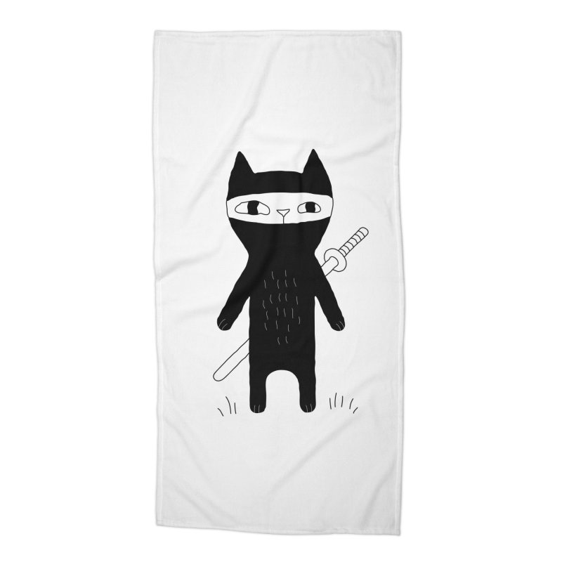 Ninja Cat Accessories Beach Towel by PENARULIT's Artist Shop
