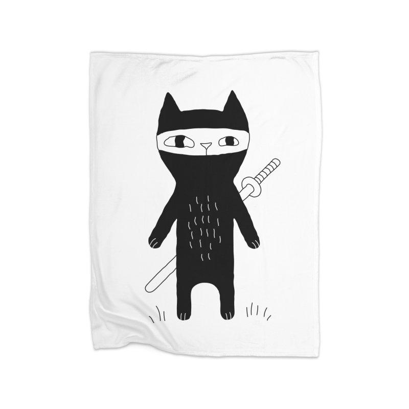 Ninja Cat Home Blanket by Ekaterina Zimodro's Artist Shop