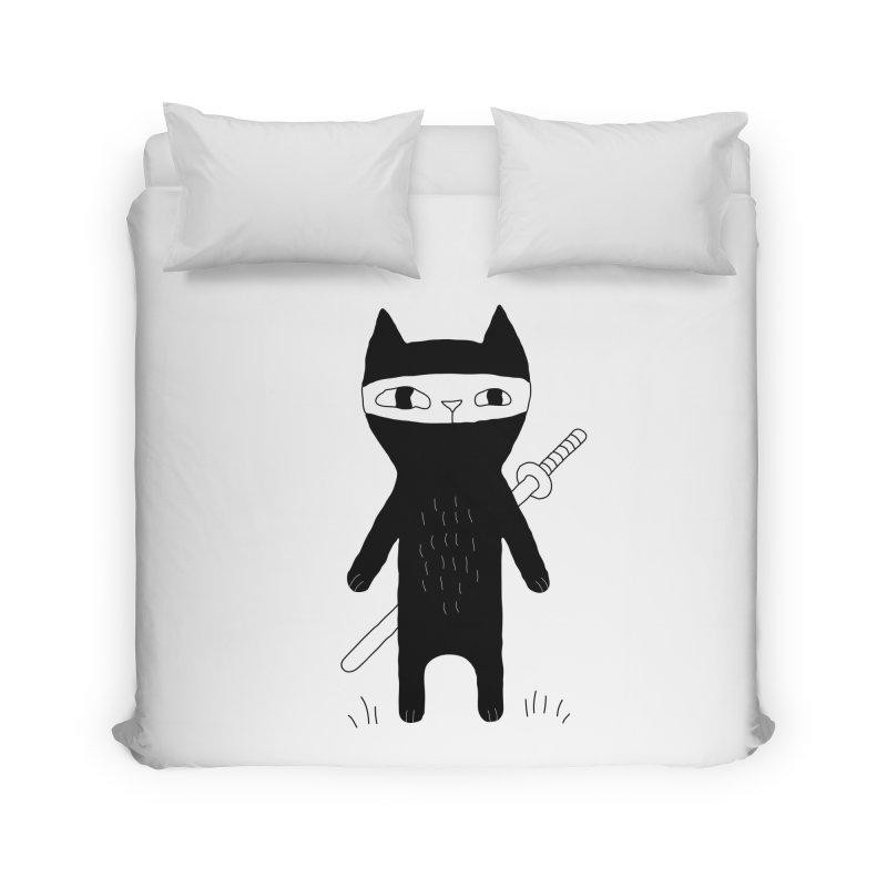 Ninja Cat Home Duvet by PENARULIT illustration