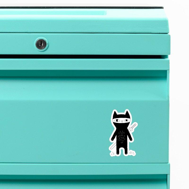 Ninja Cat Accessories Magnet by Ekaterina Zimodro's Artist Shop