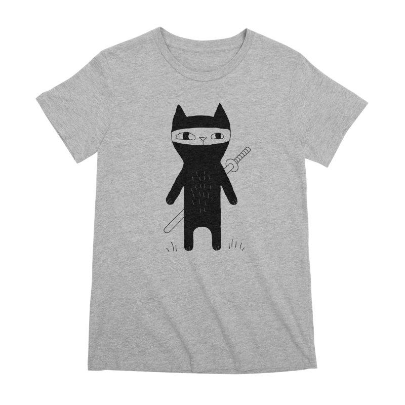 Ninja Cat Women's Premium T-Shirt by PENARULIT's Artist Shop