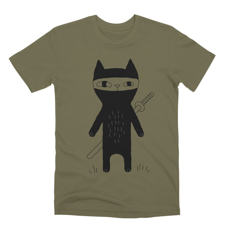 Ninja Cat Men's Premium T-Shirt by PENARULIT's Artist Shop