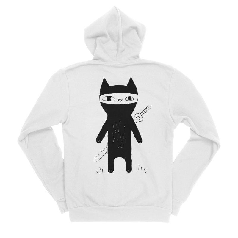 Ninja Cat Women's Sponge Fleece Zip-Up Hoody by PENARULIT's Artist Shop