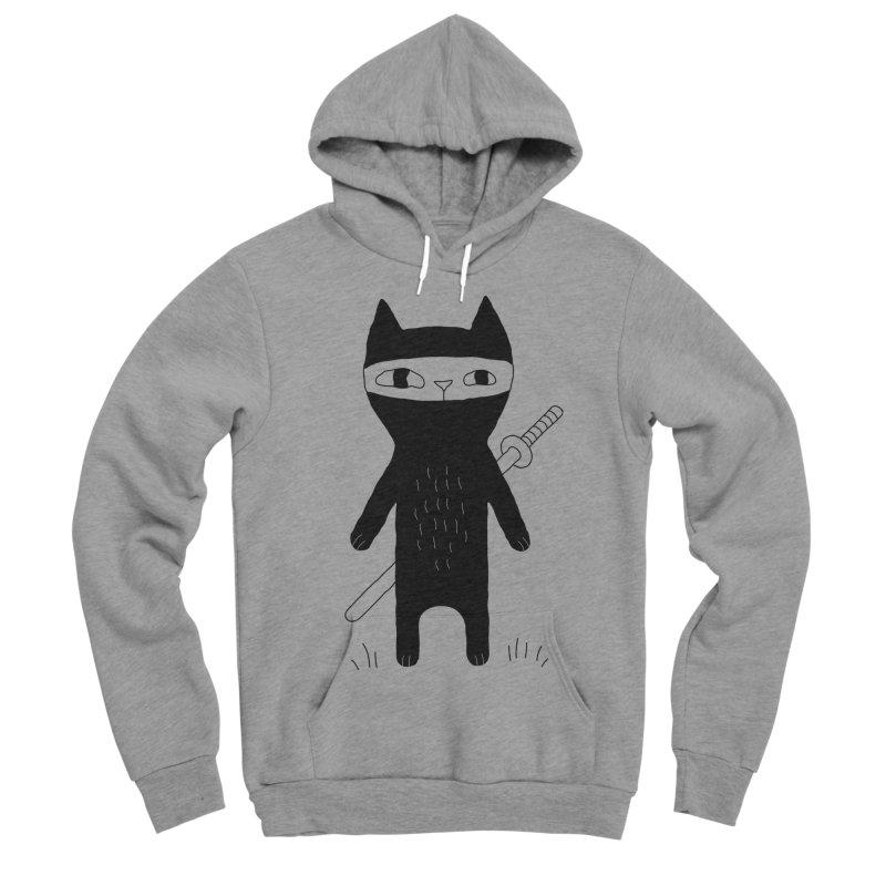 Ninja Cat Men's Sponge Fleece Pullover Hoody by PENARULIT's Artist Shop