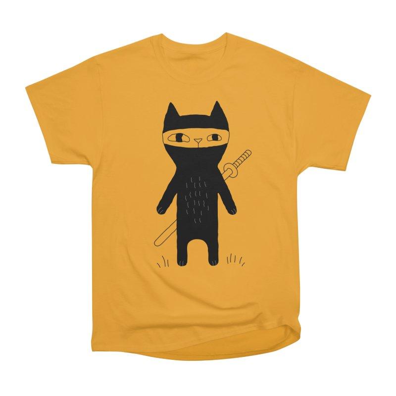 Ninja Cat Women's Heavyweight Unisex T-Shirt by PENARULIT's Artist Shop