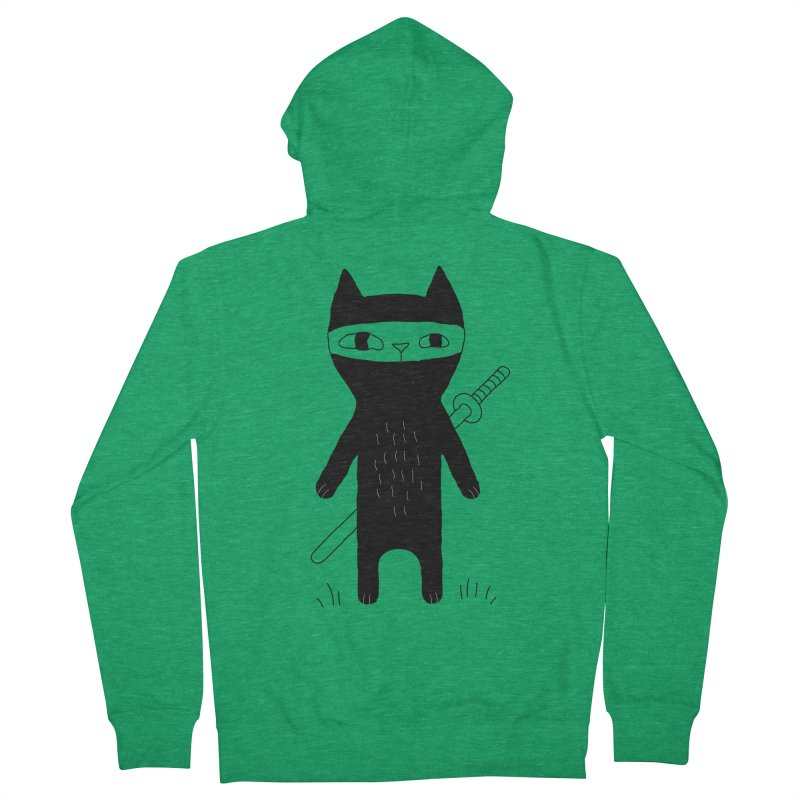 Ninja Cat Women's French Terry Zip-Up Hoody by PENARULIT's Artist Shop