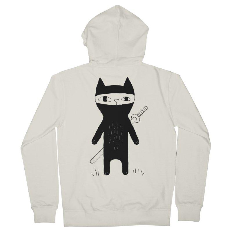 Ninja Cat Men's French Terry Zip-Up Hoody by PENARULIT's Artist Shop