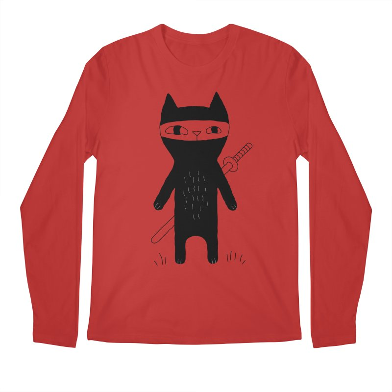 Ninja Cat Men's Regular Longsleeve T-Shirt by PENARULIT's Artist Shop