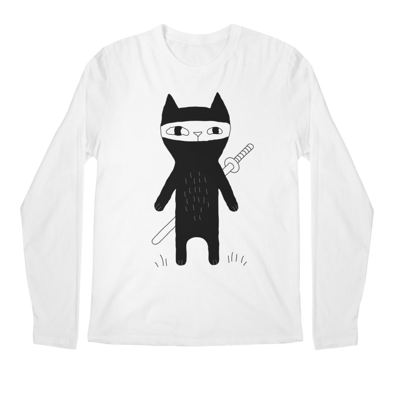 Ninja Cat Men's Regular Longsleeve T-Shirt by PENARULIT's Artist Shop