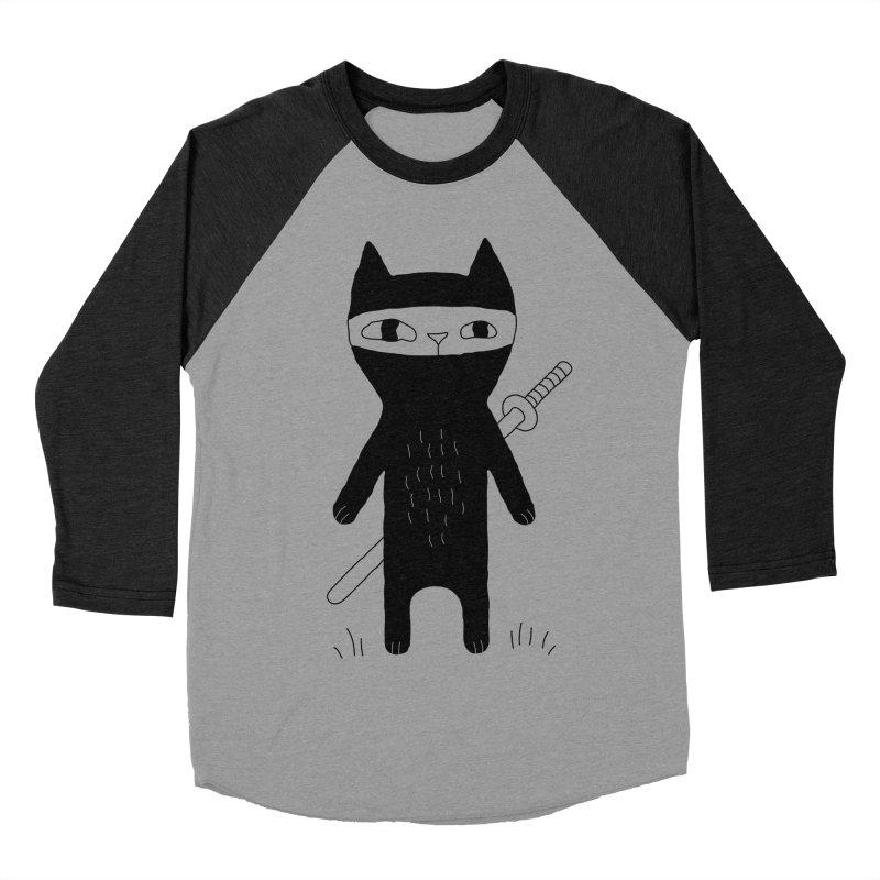 Ninja Cat Women's Baseball Triblend Longsleeve T-Shirt by PENARULIT's Artist Shop