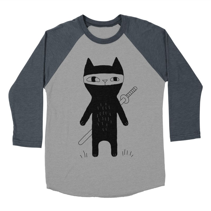 Ninja Cat Men's Baseball Triblend Longsleeve T-Shirt by PENARULIT's Artist Shop