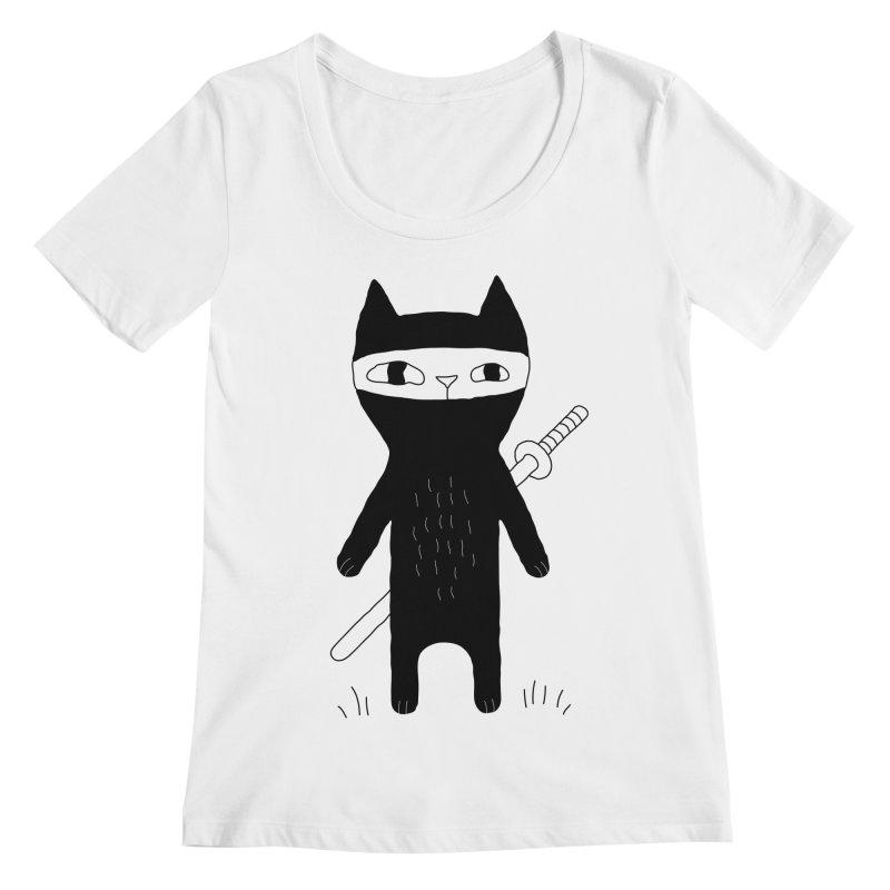 Ninja Cat Women's Regular Scoop Neck by PENARULIT's Artist Shop