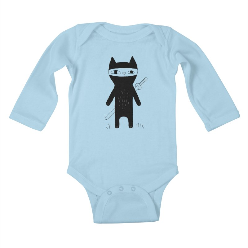 Ninja Cat Kids Baby Longsleeve Bodysuit by PENARULIT's Artist Shop