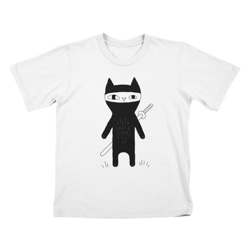 Ninja Cat Kids T-Shirt by PENARULIT's Artist Shop