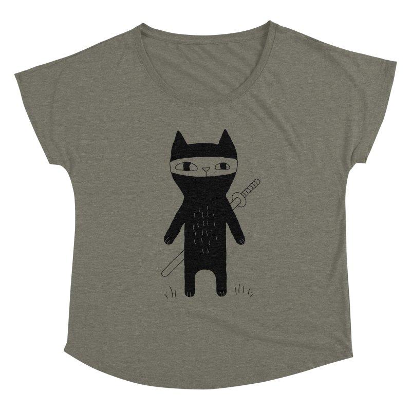 Ninja Cat Women's Dolman Scoop Neck by PENARULIT's Artist Shop