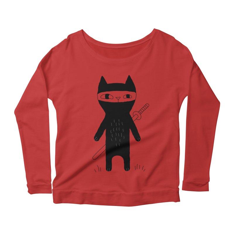 Ninja Cat Women's Scoop Neck Longsleeve T-Shirt by PENARULIT's Artist Shop